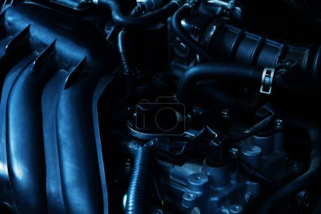 Close-up picture of car powerful engine with pipelines