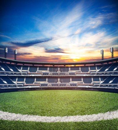 Mixed media image of empty big world level  soccer football stadium