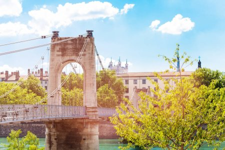 Gateway College footbridge across the Rhone river in Lyon, France