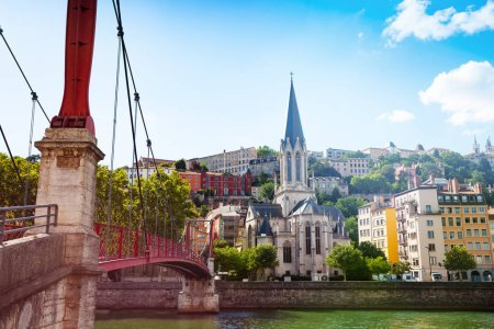 Footbridge over the Saone river leading to St. Georges church, Lyon, France