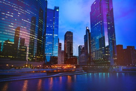 Photo for Night view of Chicago downtown with skyscrapers, Illinois, USA - Royalty Free Image