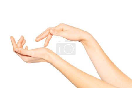 Photo pour Photo rapprochée de belles mains féminines, isolées sur fond blanc. Concept de soins de la peau - image libre de droit