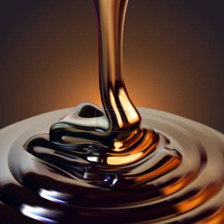 Illustration pour Le flux brillant de chocolat coule à la surface et gèle dans de belles vagues. Illustration réaliste détaillée - image libre de droit