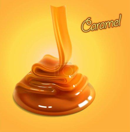 Illustration pour Le flux brillant de caramel coule à la surface et gèle dans de belles vagues. Illustration réaliste détaillée - image libre de droit