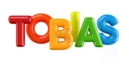 isolated colorfull 3d Kid Name balloon font Tobias