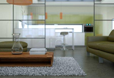Foto de Moderna sala minimalista interior de estilo de diseño de loft con sofás de render 3d - Imagen libre de derechos