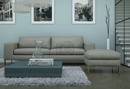 Photo for Modern minimalist living room interior in loft design style with sofas 3d Rendering - Royalty Free Image