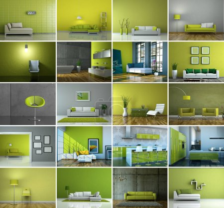 Photo pour Ensemble de canapés dans le vert moderne Design d'intérieur 3D Rendu - image libre de droit