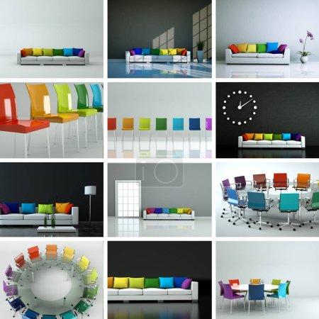 Foto de Conjunto de sillas en diseño interior moderno 3D Rendering - Imagen libre de derechos