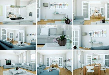 Photo pour Ensemble moderne Loft Design d'intérieur 3d Rendu - image libre de droit