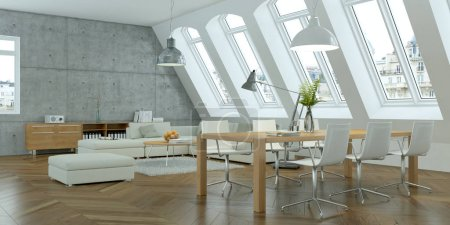 Photo for Modern white skandinavian interior design living room with concrete wall 3d Illustration - Royalty Free Image