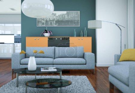 Photo for Modern white skandinavian interior design living room 3d Illustration - Royalty Free Image