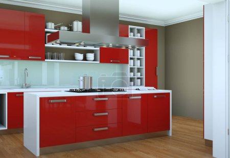Photo pour 3d Illustration de cuisine moderne rouge dans un appartement avec un beau design - image libre de droit