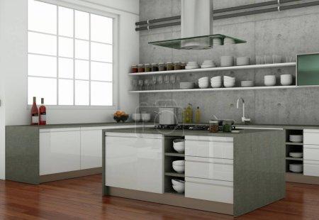 Photo pour 3D illustration d'une cuisine moderne grise dans un loft avec beau design - image libre de droit