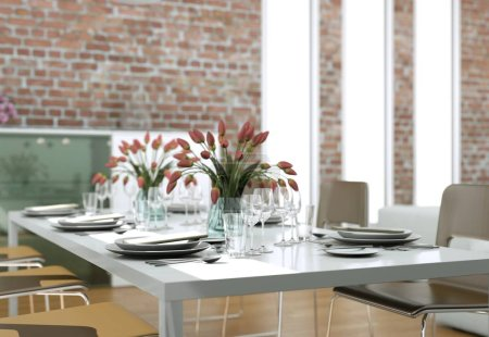Dining room interior design in modern loft with st...