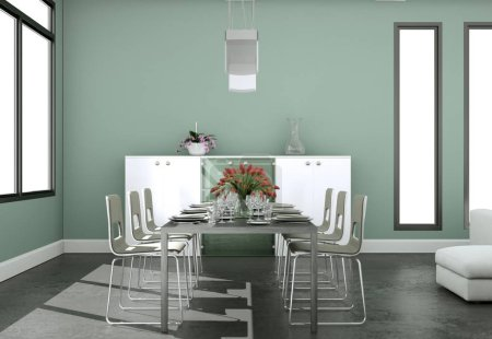 Photo for Dining room interior design in modern loft 3D Illustration - Royalty Free Image