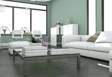 Foto de Diseño de interiores moderno luminoso living-comedor con sofás y gris las paredes ilustración 3d - Imagen libre de derechos