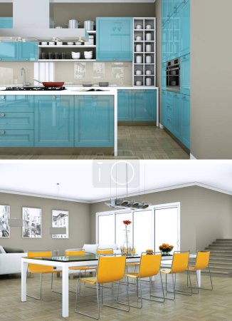Photo for Two views of modern kitchen Interior design 3d Illustration - Royalty Free Image