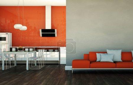 Photo pour Design intérieur lumineux moderne salon et cuisine 3d Illustration - image libre de droit