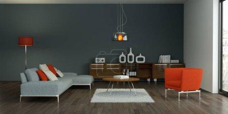 Photo pour Un design intérieur moderne gris salon Illustration 3d - image libre de droit