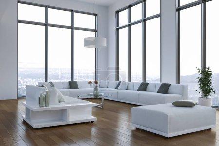 moderne helle Loft mit großen Fenstern Inneneinrichtung
