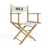 Nils written on director chair on isolated white background