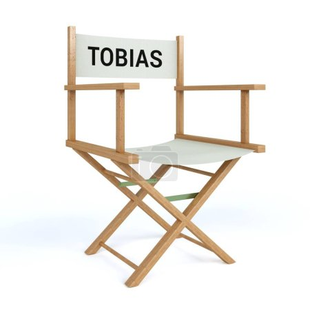 Tobias written on director chair on isolated white background
