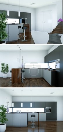 Photo for 3d Illustration of three views of a modern kitchen with a beautiful design - Royalty Free Image