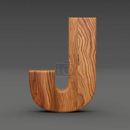 Photo pour Lettre en bois isolée sur fond sombre Illustration 3D - image libre de droit