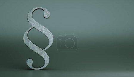 Photo pour Paragraphe concret, symbole de la loi sur fond gris. Concept de droit Illsutration 3D - image libre de droit