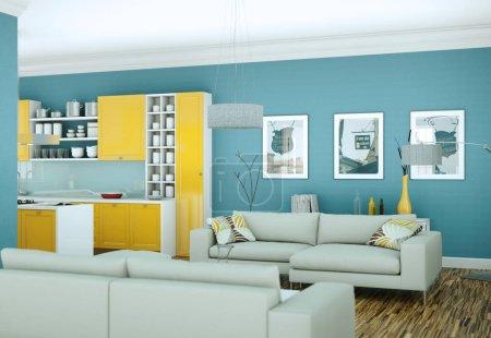 Photo for Modern bright skandinavian interior design appartment 3d Illustration - Royalty Free Image
