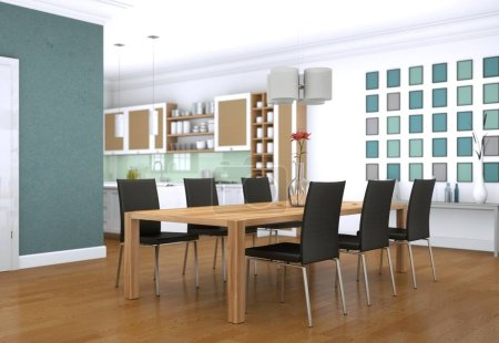 Photo for Dining room interior design in modern appartment 3D Illustration - Royalty Free Image