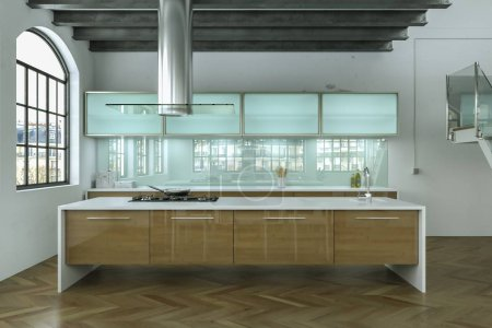 Photo for 3d Illustration of a white modern kitchen interior design - Royalty Free Image
