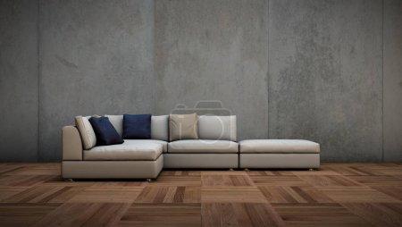Foto de Ilustración 3d de pared luminoso comedor con sofá blanco y cpncrete - Imagen libre de derechos