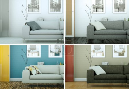Four color variations of bright room with sofa