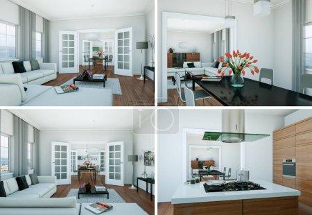 Photo pour Quatre vues du design moderne du loft intérieur Illustration 3d - image libre de droit