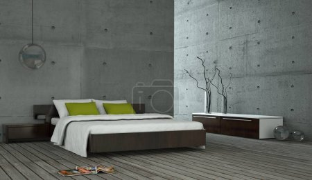 Modern bedroom with concrete wall and modern decor...