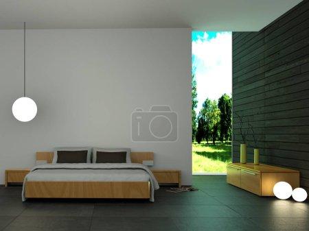 Photo pour Chambre moderne avec mur en bois et décor moderne Illustration 3d - image libre de droit