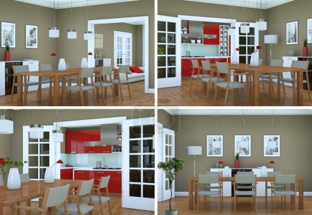Photo for Four views of dining room interior design in modern appartment 3D Illustration - Royalty Free Image