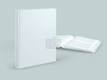 Photo for Blank hard cover book template on blank background 3d Illustration - Royalty Free Image