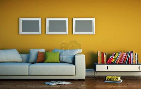 Photo pour Design intérieur chambre lumineuse moderne avec canapé blanc Illustration 3d - image libre de droit