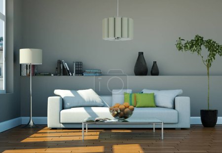 Photo for Interior design modern bright room with white sofa 3d Illustration - Royalty Free Image