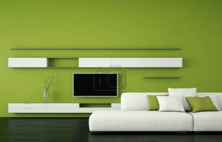 Interior design modern bright room with white sofa