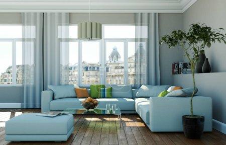 Photo pour Chambre lumineuse avec canapé gris devant une fenêtre Illustration 3d - image libre de droit