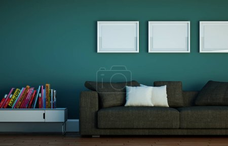 Photo for Interior design Bright room with grey sofa 3d Illustration - Royalty Free Image