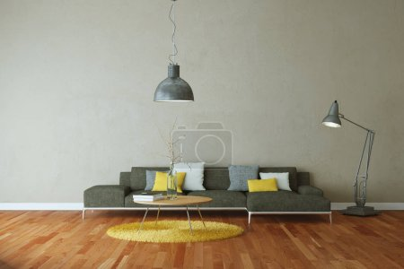 Photo for Interior design modern bright room with grey sofa 3d Illustration - Royalty Free Image