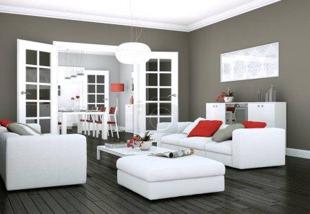Foto de Ilustración 3d de diseño interior moderno luminoso living comedor - Imagen libre de derechos