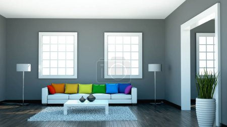 Photo for Interior design modern bright room with white sofa and rainbow pillows 3d Illustration - Royalty Free Image