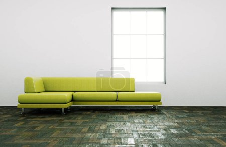 Photo for Interior design modern bright room with black sofa 3d Illustration - Royalty Free Image