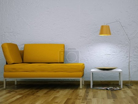 Photo for Interior design modern bright room with yellow sofa 3d Illustration - Royalty Free Image